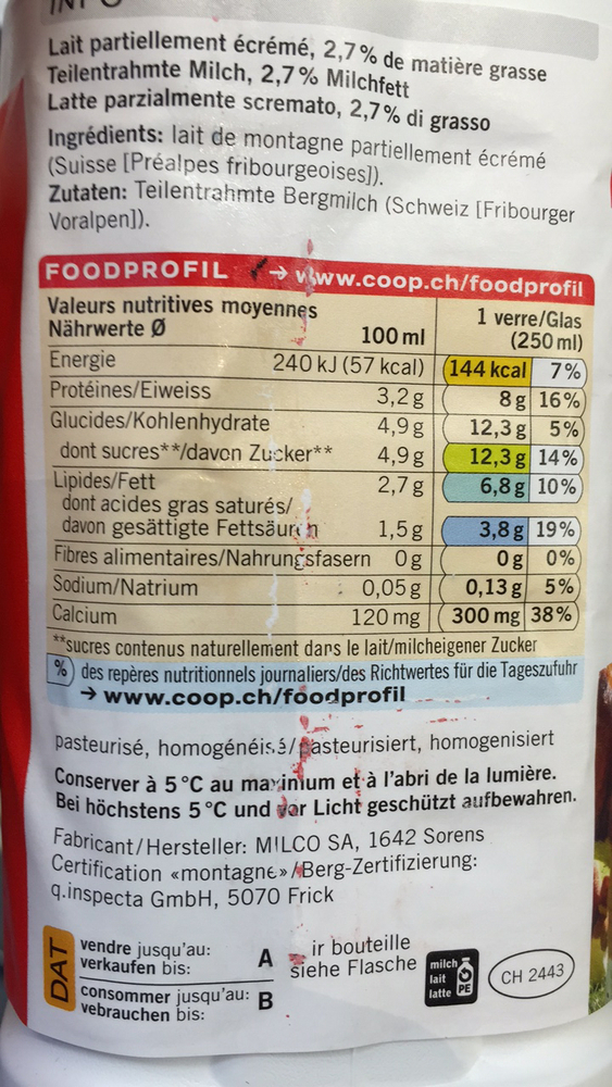 "Product ""Coop Bergmilch aus den Fribourger Voralpen"" 